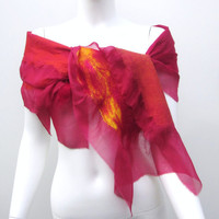 Nuno Felt Silk Scarf Raspberry Wrap Indian Summer Shawl