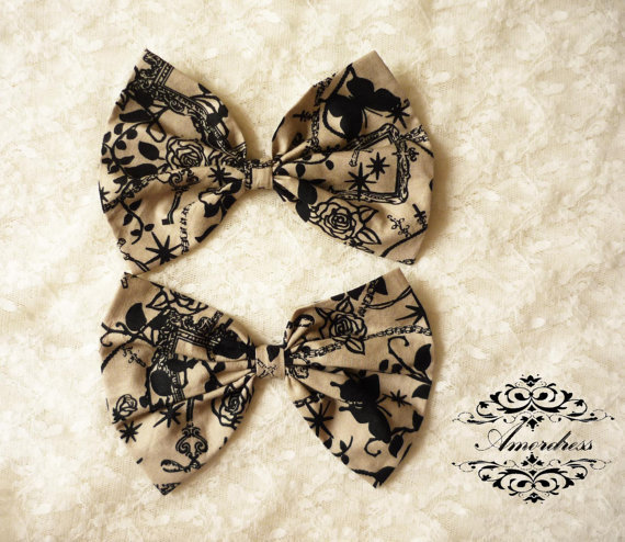 2 Pcs. FABRIC BOW Craft Supplies for Hair Clip, Head Piece, Headband, Bow Tie, Scrapbook, Shoe Clip, Etc...