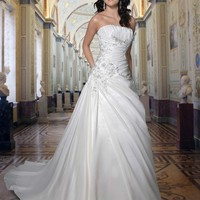 Buy Strapless Taffeta Gown Embroidery Pleating A-Line Wedding Dress YSP8376 , from  for $148.99 only in Maxnina.com.