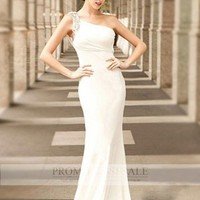 White One Shoulder Floor Length Chiffon Beads Sheath/Column Evening Dress PDSVEWD022_PDSa