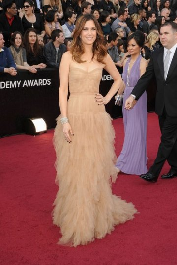 Kristen Wiig Champagne Simple A-line Strapless Floor Length 84th Oscar Dress with Ruffles