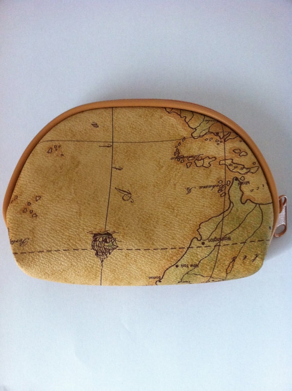 Vintage World Map Print Coin Purse