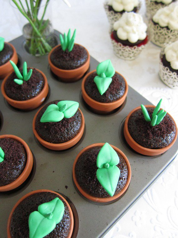 Sweet Sprout Cupcake Toppers 12Sprouts&12Pots by mimicafeunion
