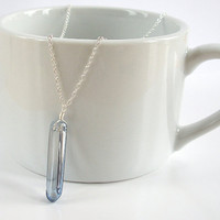 Blue Quartz Pendant, Quartz Point Necklace in Sterling Silver