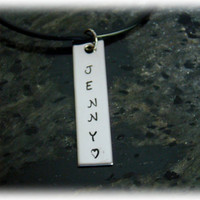 Stainless Steel Bar Necklace with Name on It