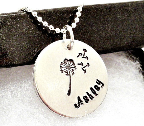 Personalized Necklace - Hand Stamped Name Necklace - Dandelion