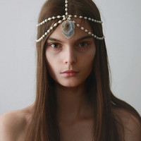 Pearl Chain Headpiece w/ Raw Crystal by Littledoe at I Dont Like Mondays -- FREE SHIPPING: I DONT LIKE MONDAYS - an online fashion boutique