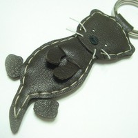 Toola the Sea Otter leather keychain ( Dark Brown )
