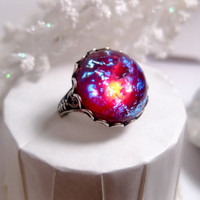 Round Dragon&#x27;s Breath Opal Ring - Mexican Opal