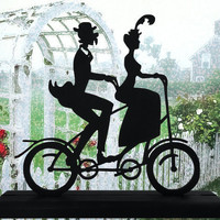 Victorian Tandem Bicycle Couple Decorative Wood Display Silhouette  strb001