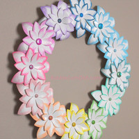 Rainbow Flowers Paper Wreath Tropical 12 inch