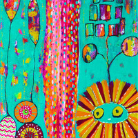 Colorful Abstract Painting CandyLion Forest