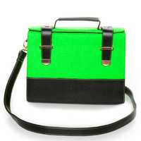 Hot Neon Green Purse - Structured Handbag - Color Block Purse - $41.00