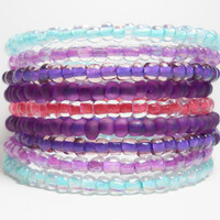 Ombre Blue Pink Purple Memory Wire Bracelet Stacked Bracelet
