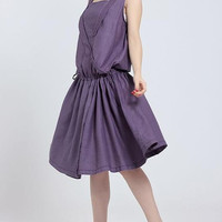 Leisure Linen sleeveless summer pleated dress
