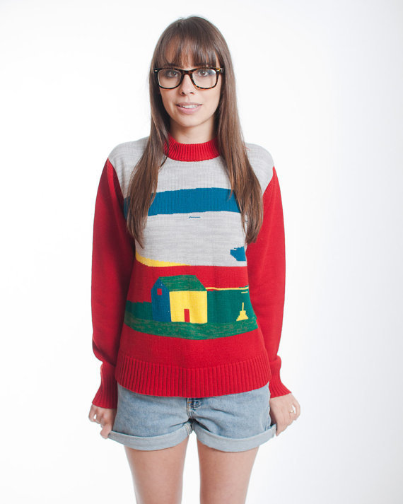 1980's Little House on a Prarie Graphic Sweater