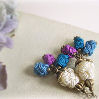 Moroccan berries earrings-crochet silk pom pom beads,teal blue,violet,ivory.gift for her.
