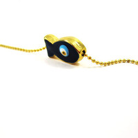 Gold Smal Cute Fish Blue Evil Eye Bracelet, Gift, Summer, Fashion, Beach