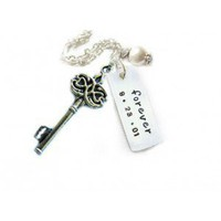 key necklace,name necklace, date pendant, hand stamped necklace