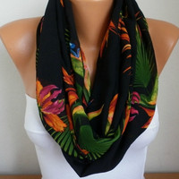 Chiffon Pareo Scarf  - Shawl  - Multicolor - Beach Wrap - fatwoman