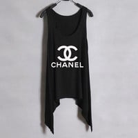 Classic CHANEL - Women Tank Top - Black - Sides Drop