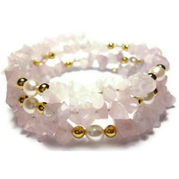 Rose Quartz, Freshwater Pearl & Gold Bracelet, Soft, Feminine Pink and Pearls