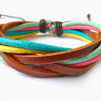 Jewelry bangle leather bracelet woven bracelet ropes bracelet women bracelet men bracelet made of leather and ropes woven SH-0276