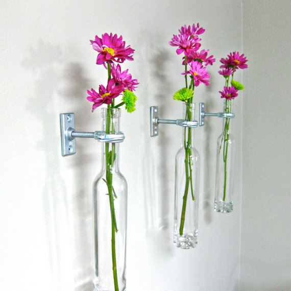 3 Wine Bottle Wall Flower Vases - Mother&#x27;s Day Gift Idea - Wall Vase - Wall Decor  - Wine bottle Decor - Spring Decor