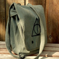 Harry Potter Deathly Hallows - Hand Painted Military Style Messenger Bag - Ipad