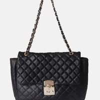 Black Vintage Leather Argyle Chain Satchels - Sheinside.com