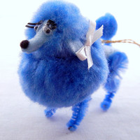 Blue Poodle Mirror Ornament, Retro 50s 60s Style Nostalgia