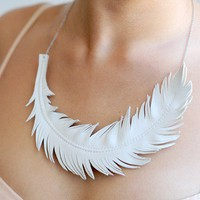 Ivory White Feather Necklace  Ivory White by LoveAtFirstBlush
