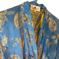 Stunning Vintage Electric Blue Chinese Robe. Ornate dragons all over. Very shiny and Regal. Unisex.