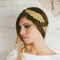 Grecian Goddess Gold Beaded Leaf Headband