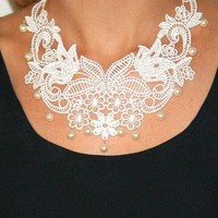Lace necklace bridal necklace pearls and lace statement necklace vintage style bib necklace -Vintage Romance Necklace