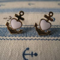 Nautical Earrings (Anchor Earrings) - White