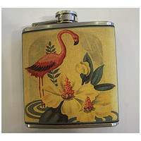 pink flamingo flask retro vintage 1950's rockabilly Florida deco kitsch