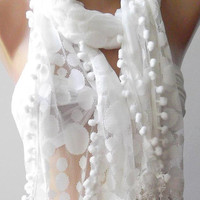 White - Elegance  Shawl - Scarf with Lacy Edge--