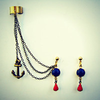 nautical earrings and ear cuff
