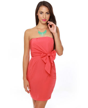 Cute Strapless Dress - Coral Red Dress - $37.00