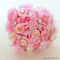 Pink Silk Flower Bouquet with Crystals and Buttons