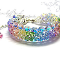 Sweet Rainbow Swarovski Crystal Bracelet with silver clasp by CandyBead