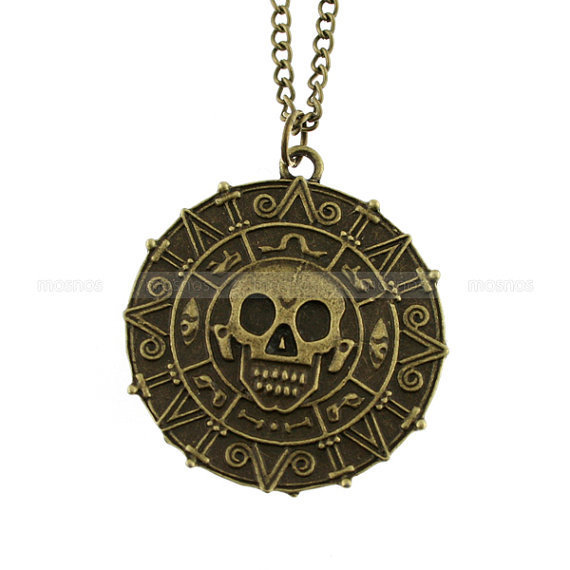 Pirate necklace-Cursed doubloon aztec coin necklace, skull necklace