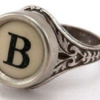 Initial Letter B Antique Typewriter Oak Leaf Ring by qacreate
