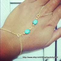 Double Turquoise Stone Slave Bracelet in Brass or Silver