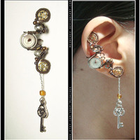 Steampunk Dangly Key ear cuff