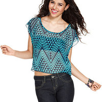Belle Du Jour Top, Short Sleeve Printed Sheer Lace - Juniors SALE &amp; CLEARANCE - Macy&#x27;s