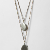 Double Hammered Drop Necklace