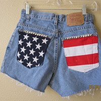 American Flag High Wasted Destroyed Studded Levi's Shorts