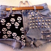 High Waisted Studded Skulls Light Blue Levi Strauss Denim Shorts
